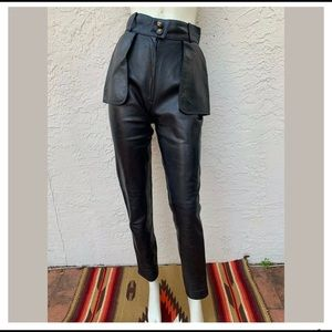 CHANEL LEATHER HIGH WAIST SKINNY PANTS CC BUTTONS